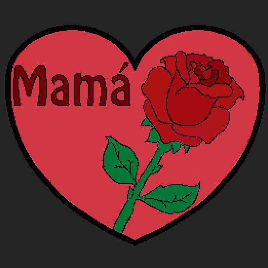 Dibujo Día de la Madre: una rosa y un corazón - Dibujos de